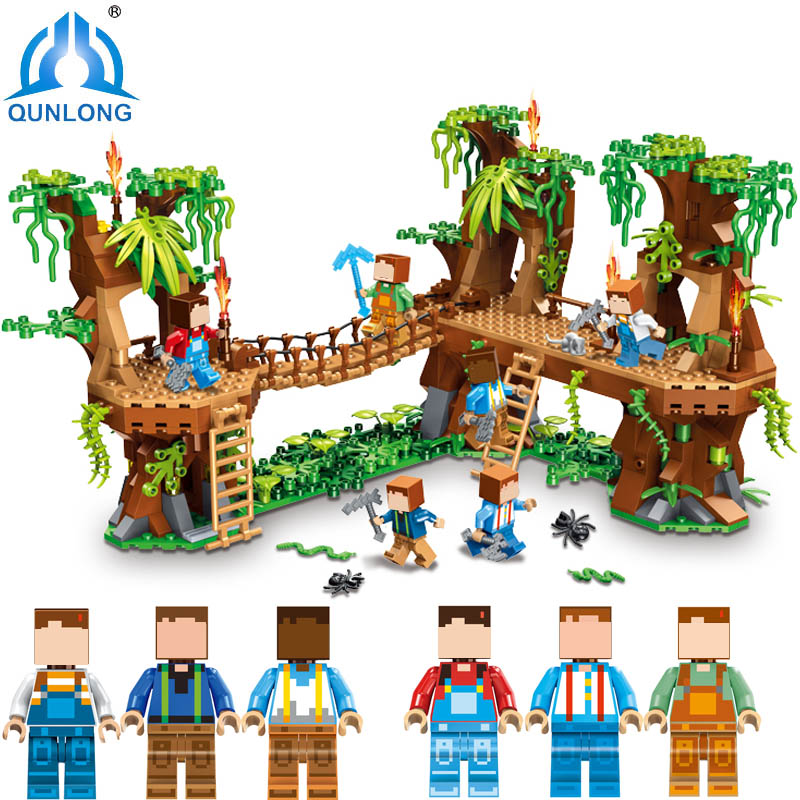 Qunlong Toys Minecrafte Village Figures Building Blocks Compatible Legoe Minecraft City Bricks Enlighten Toys For Children qunlong toys compatible legos minecraft city model building blocks diy my world action figures bricks educational boy girl toy