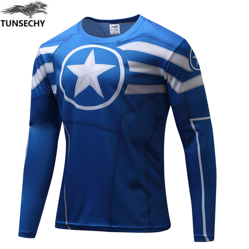 Brand TUNSECHY 2017 captain America round neck long sleeve T-shirt men's fashion long-sleeved T-shirts wholesale and retail