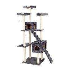 Внутренние поставки H182cm Игрушки для котов кошка домашняя кошка дерево Pet Мебель для дома Когтеточка деревом кошка прыгает восхождение Рамка