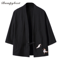 YWSRLM Red Crowned Crane Embroidery Japanese Harajuku Kimono Linen Shirt Men Swag Fashion Retro Origin