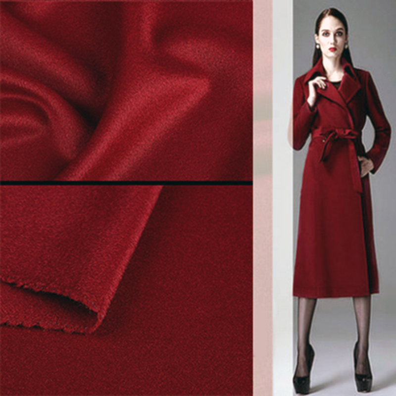 2018 Europe High end Brand Coat Wool Silk Fabric diy Merino Wool Cashmere Fabrics Smooth Glossy Anti static Elastic gold Fabrics