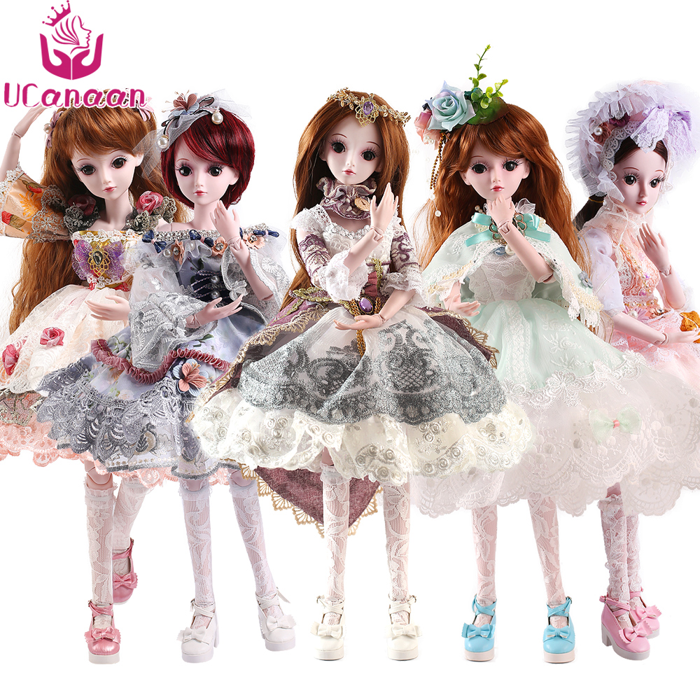 UCanaan Limited Collection 1/3 BJD SD Girls Doll With All Outfits Makeup Children Dressup DIY Toys handsome grey woolen coat belt for bjd 1 3 sd10 sd13 sd17 uncle ssdf sd luts dod dz as doll clothes cmb107