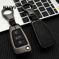 Zinc alloy leather Car Remote Key Fob Cover Case For Audi A3 8L 8P A4 B6 B7 B8 A6 C5 C6 4F RS3 Q3 Q7 TT