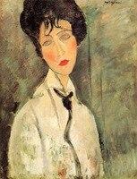 Kadın Siyah Kravat 1917 Amedeo Modigliani art online satış için Yüksek kalite yağı tuval kadın Portre boyama El Yapımı