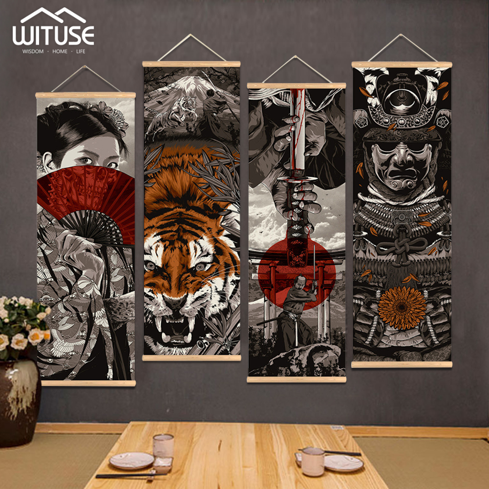 4pcs lot Japanese Samurai Print Scroll Painting Wall Art Printed Hanging Framed Canvas Painting With Wood