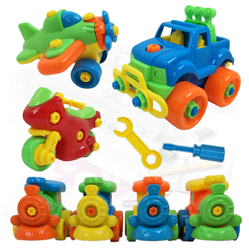Children DIY Cartoon Disassembly Assembly Plastic Nut Disassembly Toy Puzzle Educational Building Blocks Gift Transport Toys Hot