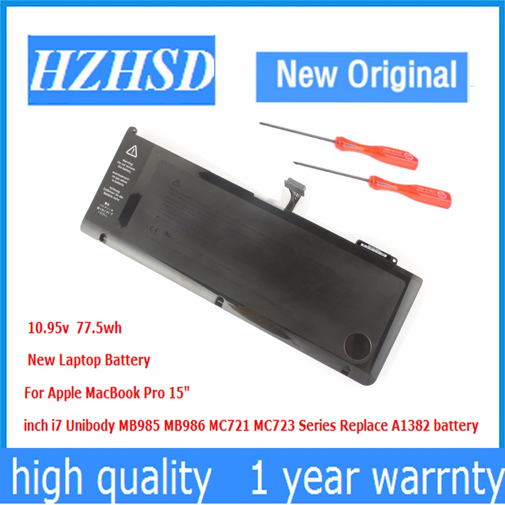 10.95v 77.5Wh New Original A1382 Laptop Battery for APPLE MacBook Pro 15 A1286 2011 2012 SeriesMC723 MC721