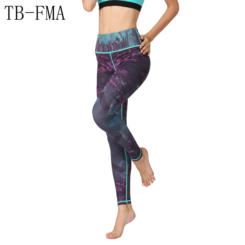 2017 Women New sportswear High Waist Compression Yoga Pants Wide Waistband Quick Dry Workout Yoga Leggings Fitness Sportswear active wide leg stretch waistband pants with stitching design in blue