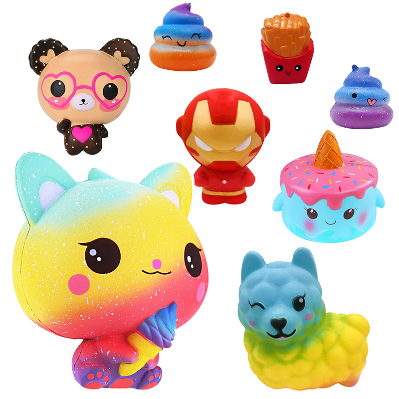 Funny Creative Squishy Cartoon Fries Dazzle Color Alpaca Slow Rising Relieves Stress Toys Gift For Children Birthday Present