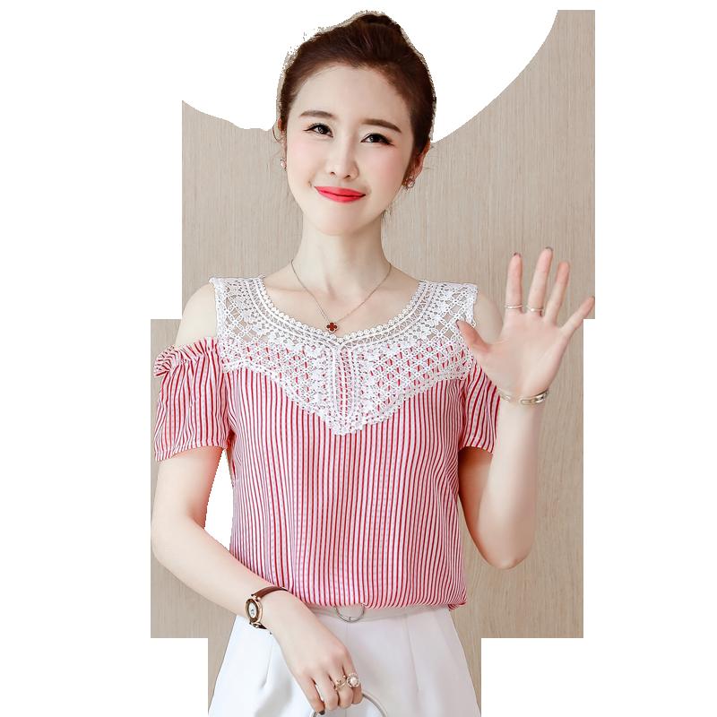 JKKUCOCO ホット販売中空アウトレースオフショルダーストライプシャツ女性シャツ半袖 V ネック綿シャツ女性ブラウス 3 色  グループ上の レディース衣服 からの ブラウス & シャツ の中 1