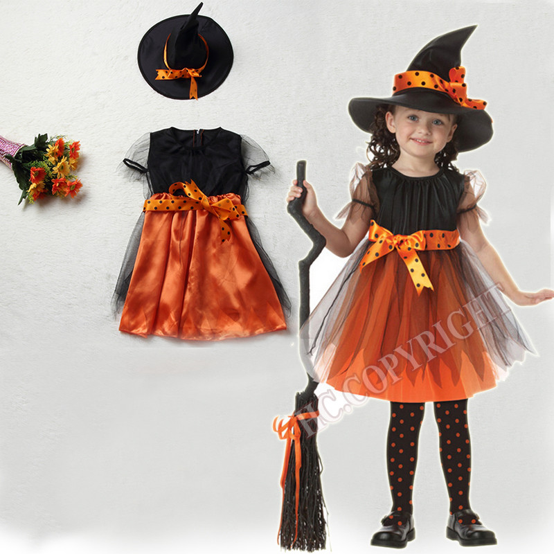 New Year Christmas Halloween Girls Dress Costumes Kids Fly 1 Witch Dress+1 Hat Cap Bow knot Party Cosplay Performance Clothes-in Girls Costumes from Novelty ...  sc 1 st  AliExpress.com & New Year Christmas Halloween Girls Dress Costumes Kids Fly 1 Witch ...