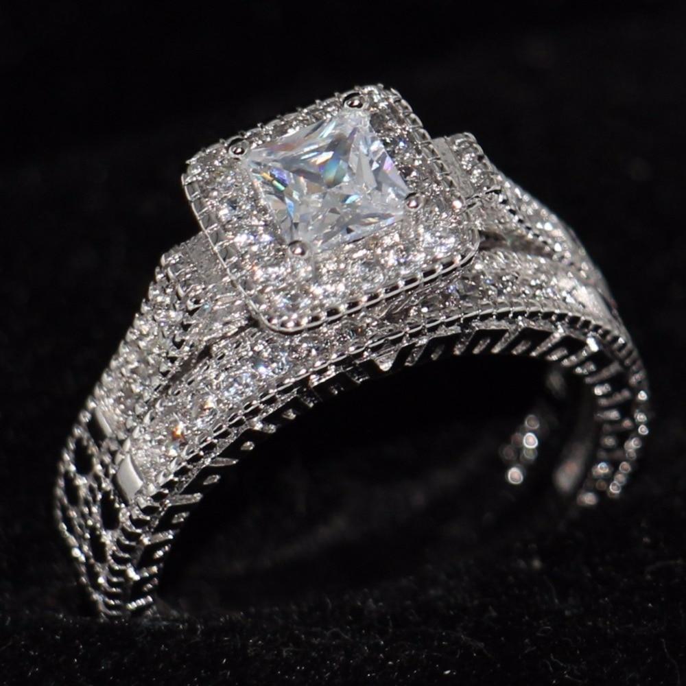 Bridal Sets 10KT White Gold Filled Princess cut 5mm Zircon Women/'s Wedding Ring