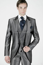 2015 Classic Morning Style Gray Best Man Suit Groomsmen Men Groom Tuxedos Wedding Suits Prom/Formal Suit (Jacket+Pants+Vest+Tie)