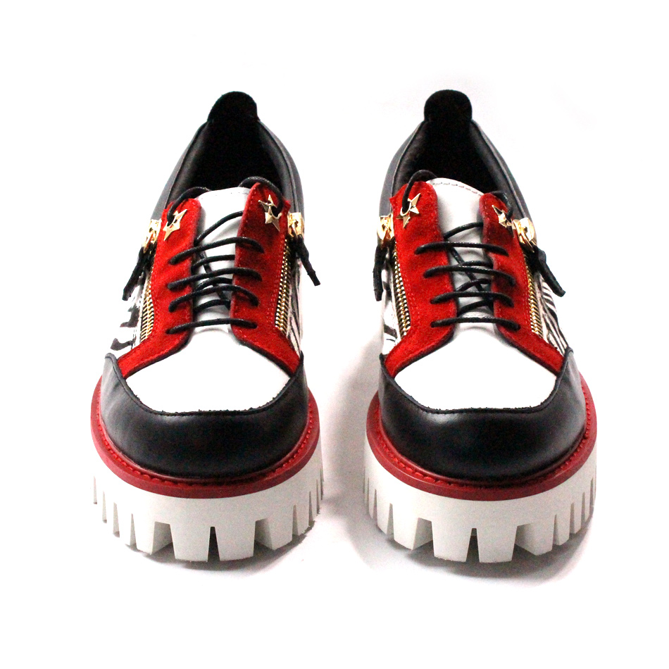 Newest thick bottom mixed color horsehair leopard leather handmade lacing double zipper mens fashion platform shoes size45Newest thick bottom mixed color horsehair leopard leather handmade lacing double zipper mens fashion platform shoes size45