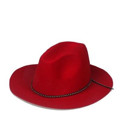 6 шт./лот новые модные женские туфли Для мужчин шерсть autunm зима фетровая шляпа Фетр Панама женская флоппи Дерби шляпа Кепки Головные уборы - Цвет: Red