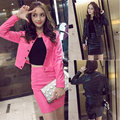 Spring Autumn Women Clothes Set Fashion PU Leather Jacket Coat + Pencil Skirt Two Piece Sets Slim Fit Suits H9