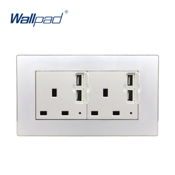цена на Double USB With 3 Pin UK Socket Wallpad Luxury Wall Outlet Acrylic Panel 146*86mm Wall Power Outlet