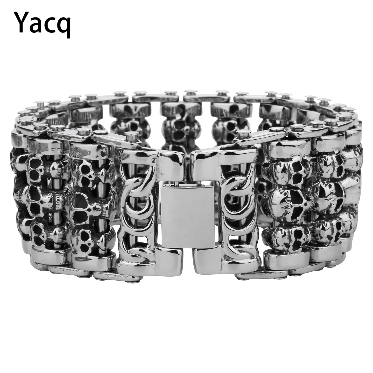 Mens Skull Cuff Bracelet Stainless Steel Biker Heavy Chain Jewelry Fathers Day Gifts for Dad Him Boyfriend dropshipping 9 D107
