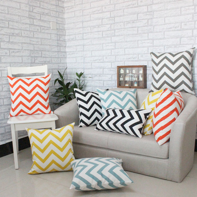 Sofa Cushion Covers Seat Pillow Cases Geometric Wavy Print Creative Striped Pillow  Cover Home Decoration 4