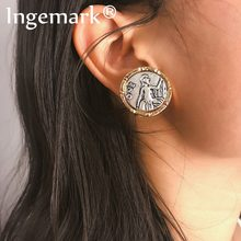 Ingemark Sacred Queen Antique Silver Clip Earrings Women Accessories Vintage Carved Coin Human Face Pierced Earrings Brinco 2019(China)