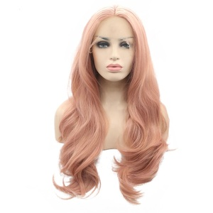 Marquesha Long Wavy Rose Gold Synthetic Lace Front Wig Peach Pink Lace Front Wig Heat Resistant Fiber Lace Wig For Women(China)