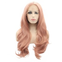 Marquesha Long Wavy Rose Gold Synthetic Lace Front Wig Peach Pink Lace Front Wig Heat Resistant Fiber Lace Wig For Women