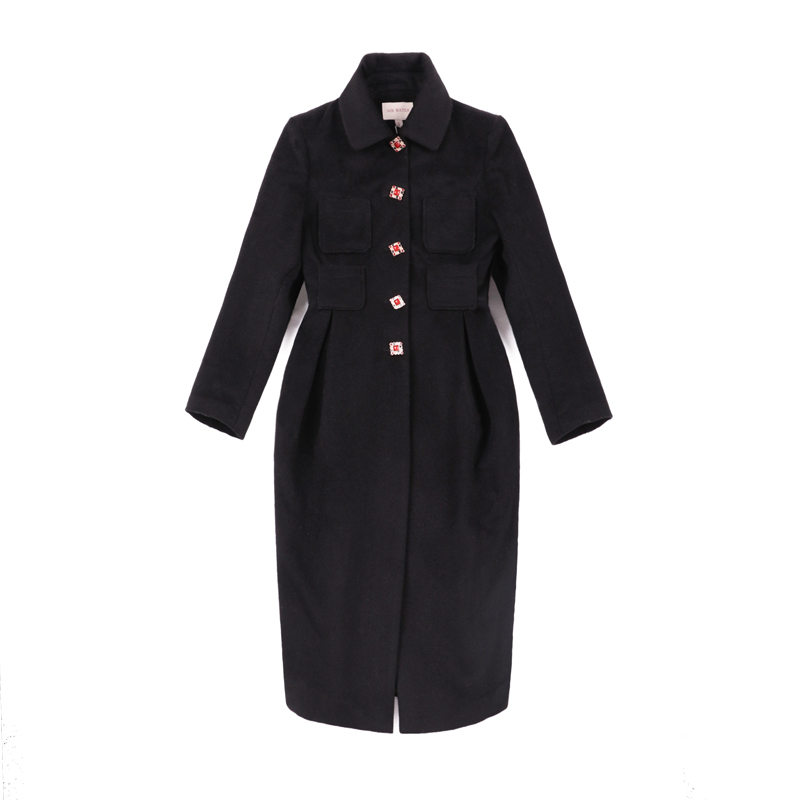 Hiver Chinoiserie Laine Femmes Automne Manteaux Lynette's Noir Slim Conception Originale Vintage De qw1ZxEA