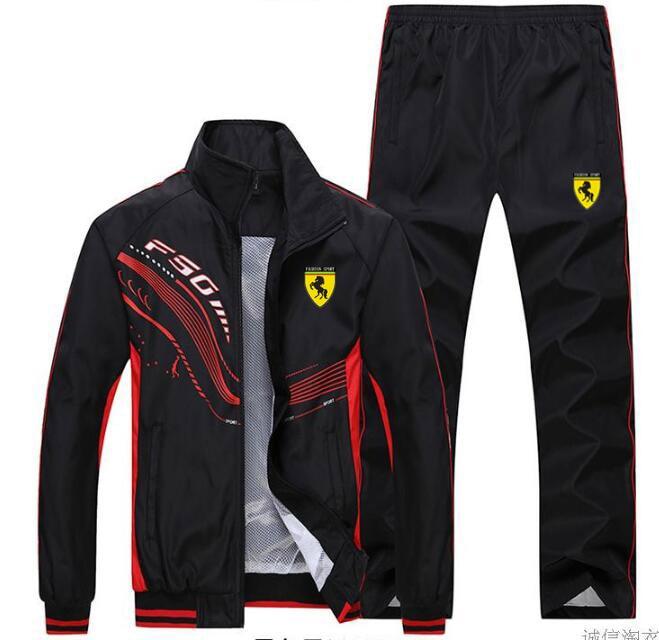 Hommes survêtement Sport mince veste manteau Top costume ensemble pantalon pantalons Sweats costumes Sportwear automne printemps sweat 6 couleurs - 6