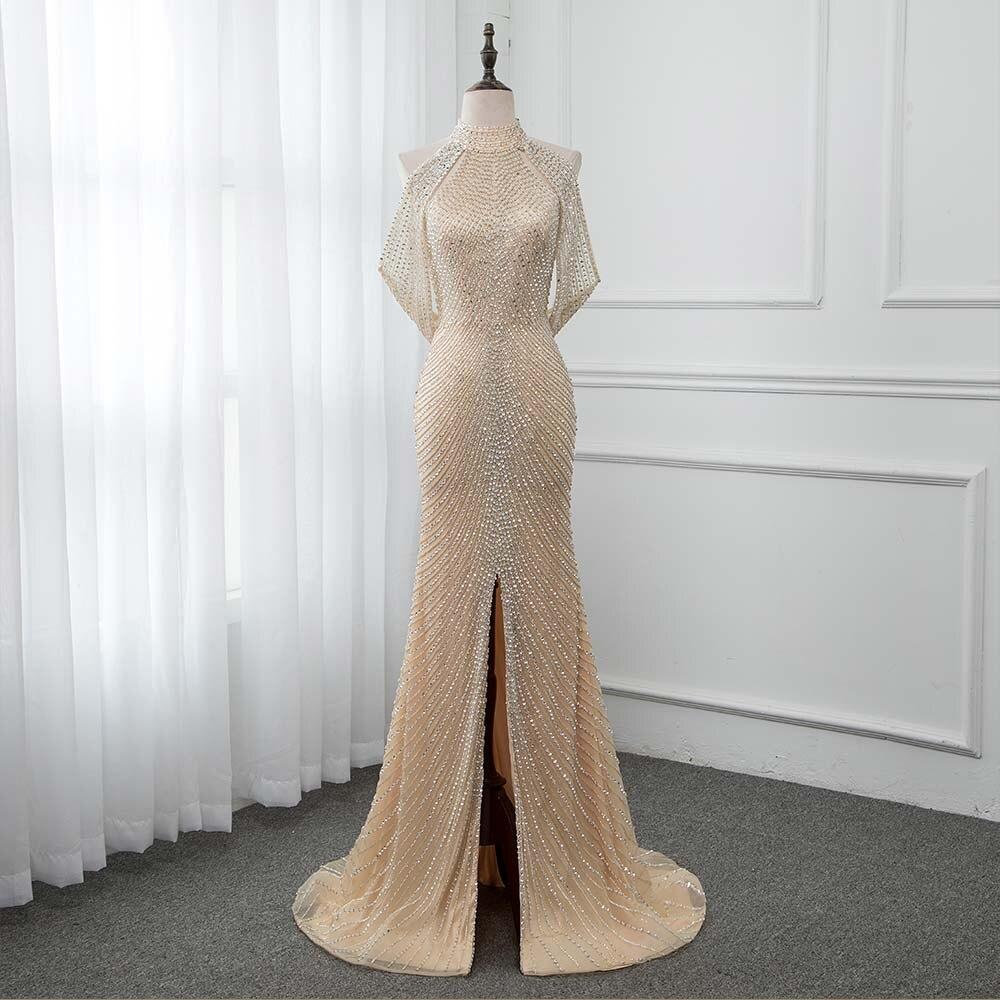Luxo ouro longo cristais beading vestido de noite sereia vestido de noite formal vestidos femininos yqlnne