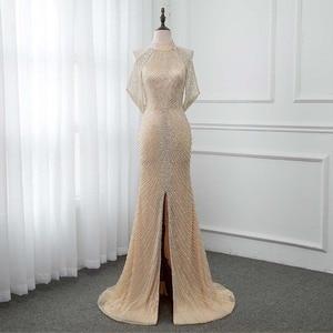 Image 1 - Luxo ouro longo cristais beading vestido de noite sereia vestido de noite formal vestidos femininos yqlnne