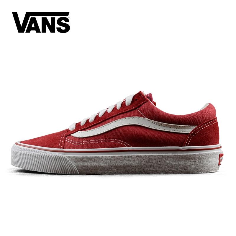 Original Vans Old Skool low-top Classic Unisex MEN'S & WOWEN'S Sport Shoes canvas Shoes Red Sneakers