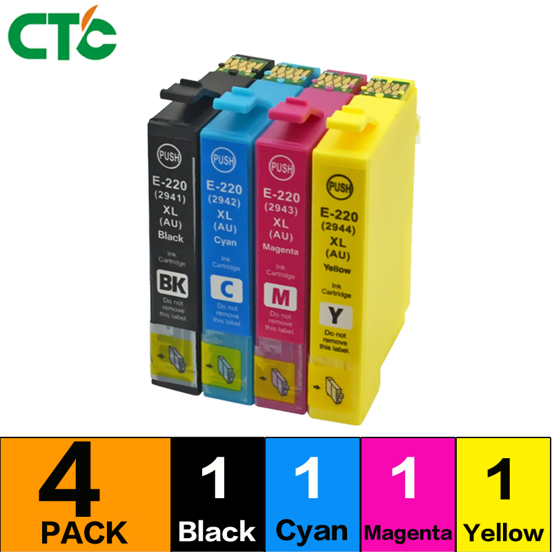 1 set Ink Cartridges For 220XL T2201 WorkForce WF2630 WF2650 2660 XP320 XP420 XP424 WF-2760 Printers