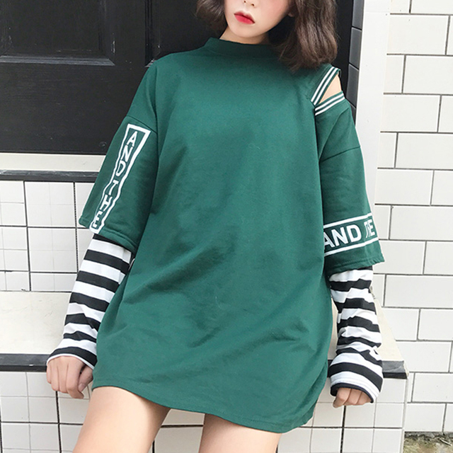 1545244558 Harajuku Spring Autumn Women Cut Out T Shirt Letter Print Stripe Patchwork  Casual Loose Long Sleeve T Shirt Tee Top Streetwear