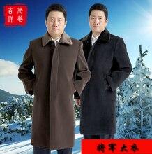 Пятидесяти лет зима мужчины бренд одежда мех воротник шерсть пальто шерсть длинная дизайн пальто / L-3XL