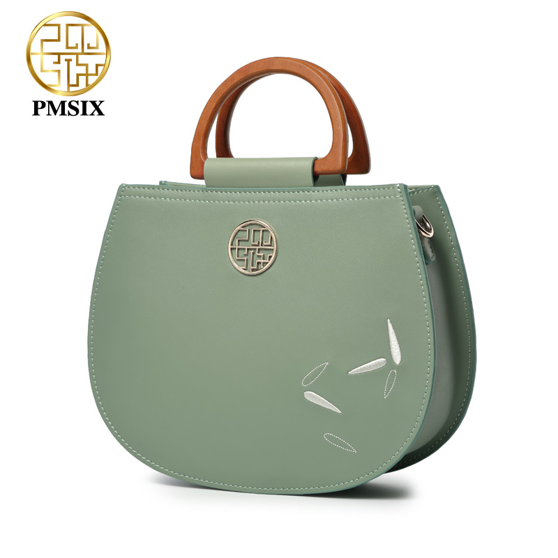 Pmsix designer brand famous in womensbag The wooden handle Green Cow  Leather Handbags Embroidery Flowers messenger bags 7eb0e3f2c46d