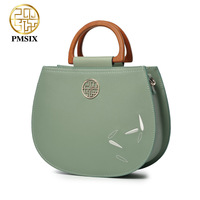 Pmsix designer brand famous in womens'bag The wooden handle Green Cow Leather Handbags Embroidery Flowers messenger bags