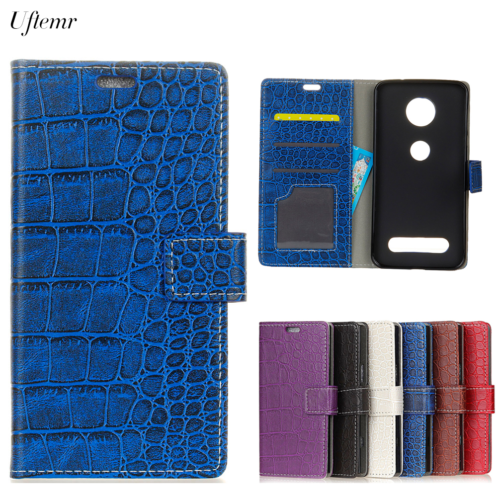 Uftemr Vintage Crocodile PU Leather Cover For Moto Z Force 2017 Protective Silicone Case Wallet Card Slot Phone Acessories