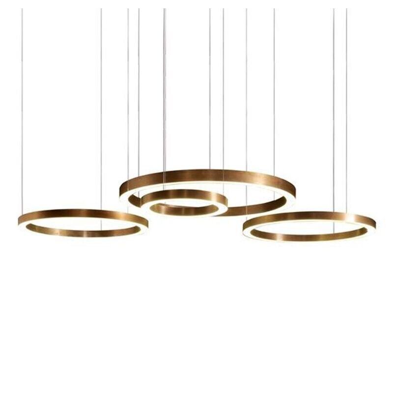 Moderno círculo de ouro pendurado lâmpada LEVOU luz pingente minimalista sala de estar de aço inoxidável anel de Luz para o restaurante Do Hotel do projeto