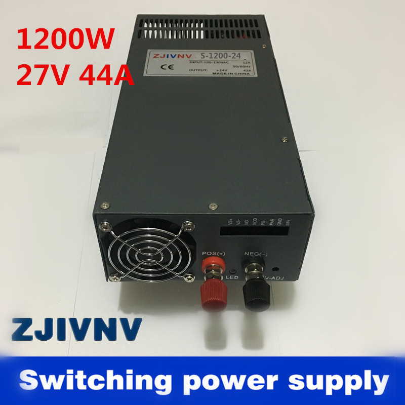 1200W 44A 27V Switching power supply for LED Strip light AC to DC power suply input 110v 220v 1200w ac to dc power supply promotion 6pcs crib bedding piece set baby bed around free shipping hot sale unpick 3bumpers matress pillow duvet