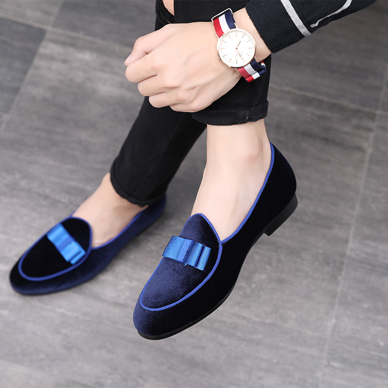 Allwesome Gentlemen Bowknot Formal Shoes Men Wedding Dress Shoes Red   Suede   Loafers 2019 Casual Business   Leather   Moccas