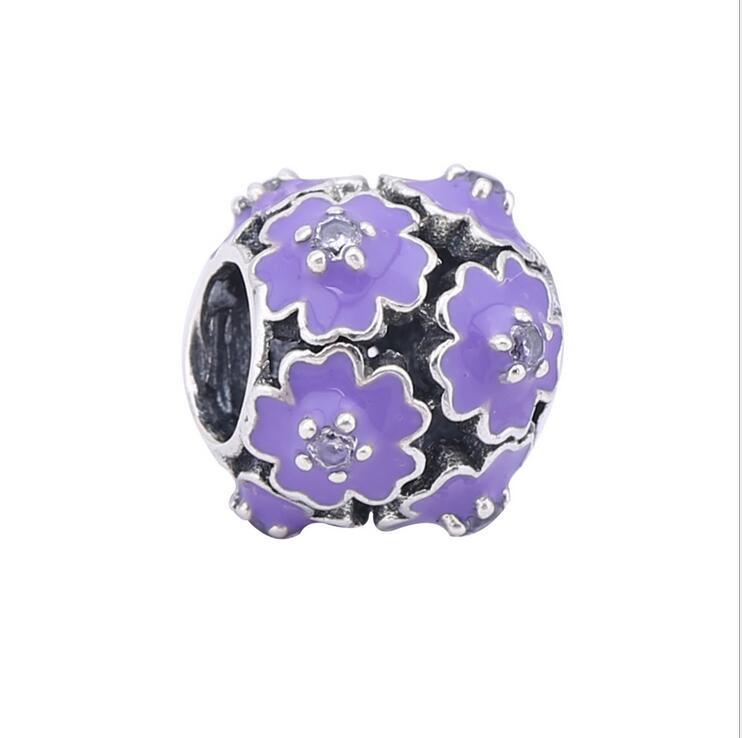 100%925 Sterling Silver enamel charms Round beads purple Flower Fits Pandora Bracelets DIY Jewelry berloque making