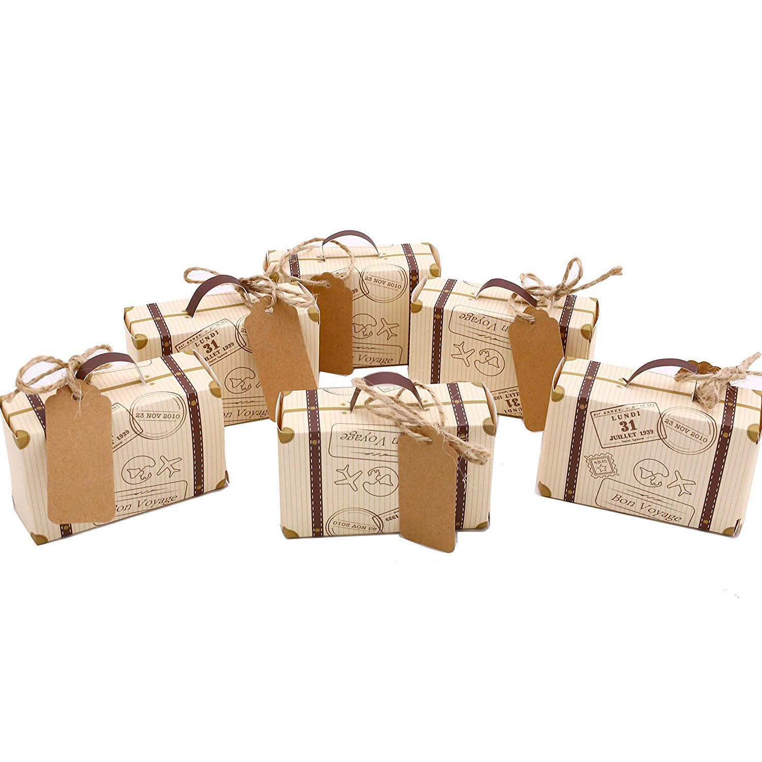 Hot 50pcs Mini Suitcase Favor Box Party Favor Candy Box, Vintage Kraft Paper With Tags And Rope For Wedding/Travel Themed Part