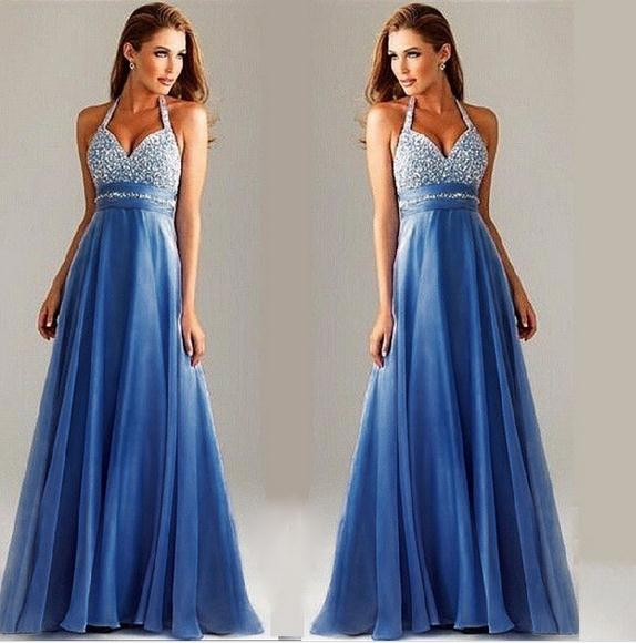 Europe womens dress blue S-XL mesh sequined halter dress sexy body Fashion Slim Long dress gala events hosted dress #682748