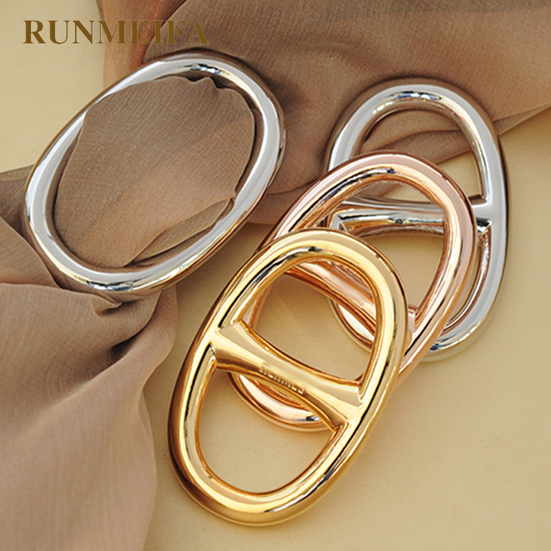 RUNMEIFA H-Shaped Scarf Buckle Enamel Polish Gel Alloy Barrel-Shaped Silk Scarf Buckle Not Hook Wire Women Accessories