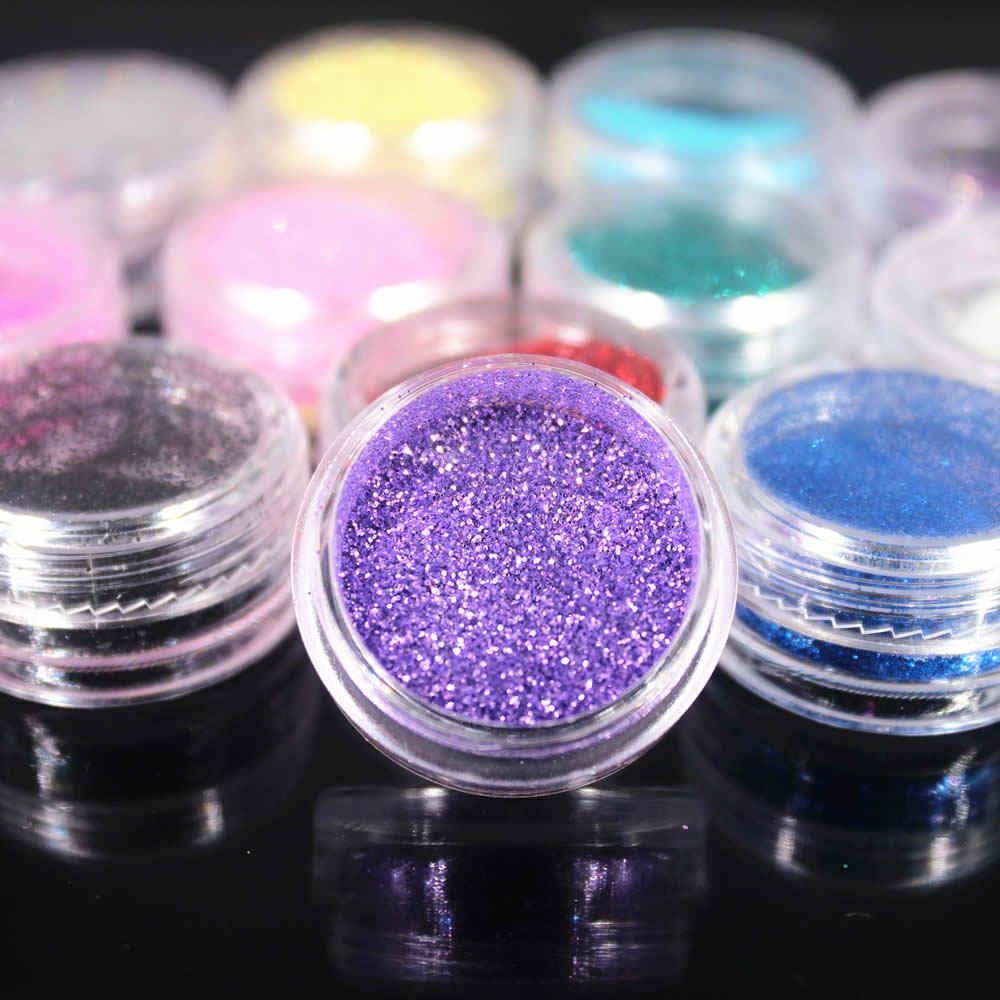 12 สี Glitter Nail Art ชุดเครื่องมืออัญมณีเล็บเครื่องมือ 3D เล็บตกแต่งเล็บ Glitter ผง 2017 ใหม่