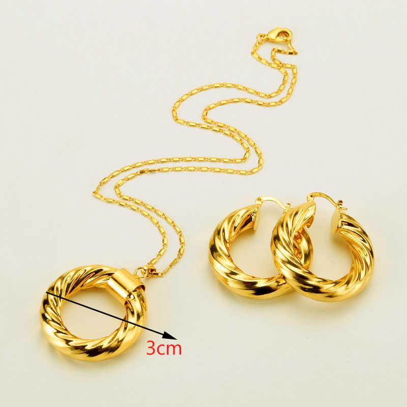 Эфиопское ожерелье и серьги ювелирные изделия из золота из Дубаи Африканский наборы для ухода за кожей бижутерия золотого цвета Израиля/Судан/арабский/Ближний Восток для женщин подарок
