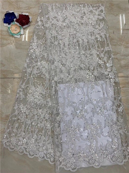 (5yards/pc) High quality White African French net lace fabric 3D embroidered sequins lace fabric for party dress(FJ-2-19