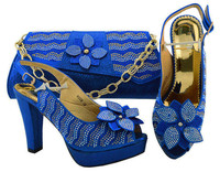 Wonderful royal blue shoes with handbag set decorated with flower and rhinestones M008 heel height 11cm