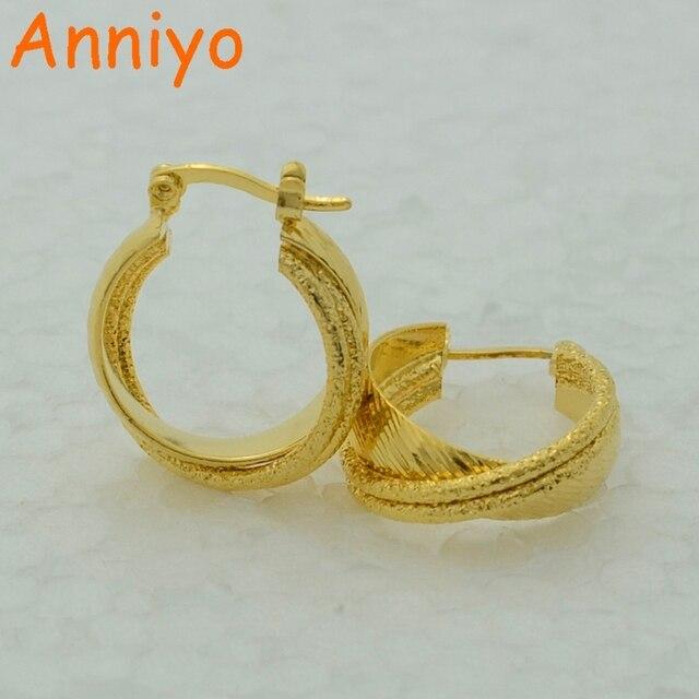 Anniyo Stud Earrings For Women Gold Color Sporty Jewelry Arabic Brazilian African