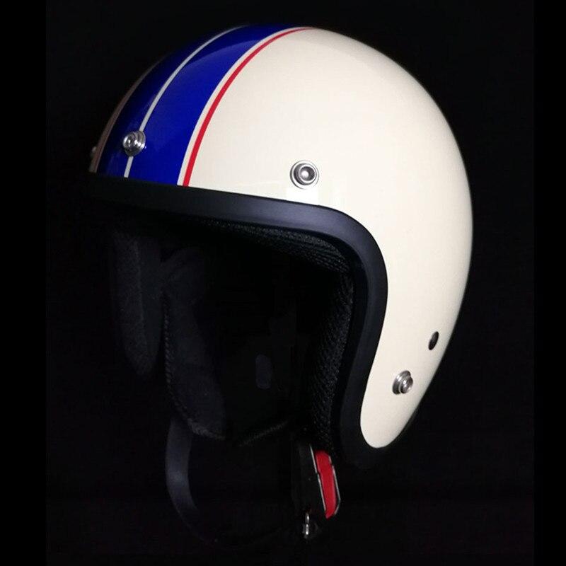 Для взрослых с открытым лицом Jet Casco moto Винтаж moto rcycle шлем moto rbike Ретро шлем скутер 3/4 полушлем capacete de moto cicleta - Цвет: blue line